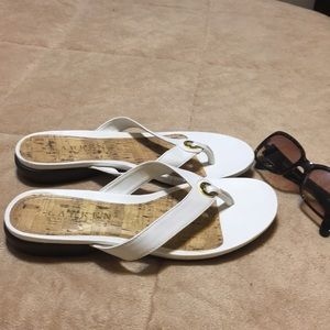 White Kira Sandals by Lauren Ralph Lauren